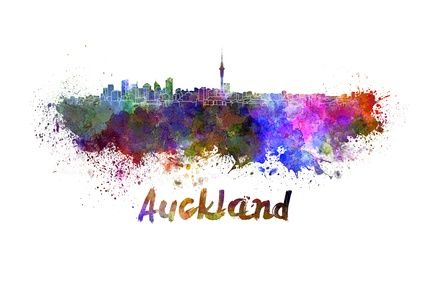 Auckland skyline in watercolor splatters with clipping path