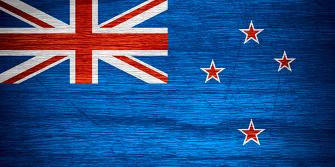 New Zealand flag or banner on wooden texture