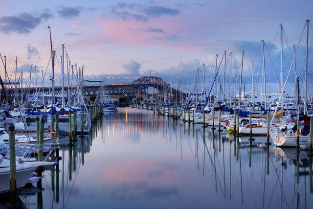 Yachts At Sunset, Westhaven Marina With Auckland Harbour Bridge_64588